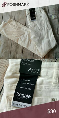 """NWT Kensie Knockout skinny corduroy pants. Size 4 These are winter white. Size 4. Mid rise. Waist 30"""" Rise 8.5"""" Inseam 30"""" Cotton spandex blend for a perfect fit! Kensie Pants Skinny"""