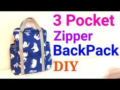 【DIY】3ポケット*リュックサックの作り方* 3 Pocket Lined Zipper Backpack Tutorial* - YouTube
