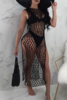 Sleeveless Mesh Beachwear Tunic Dress with Side SlitsSexy Round Neck Hollow-out Black Gauze Ankle Length Dress(Without Subcoating)Women S Fashion Chain Crossword We Offer Top Good Quality Cheap Clothes For Women And Men Clothing Wholesaler, Get Affor Sexy Outfits, Short Outfits, Cute Outfits, Fashion Outfits, Fashion Shorts, Fashion 2018, Gothic Fashion, Fashion Backpack, Crochet Cover Up