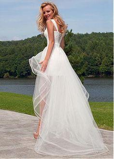 58beec3c5ff9dc Chic Lace Sweetheart Neckline 2 In 1 Wedding Dresses Gerechtsgebouw  Trouwjurk