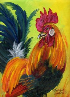 Rooster Kary Painting by Summer Celeste Rooster Painting, Rooster Art, Diy Painting, Painting Flowers, Chicken Painting, Chicken Art, Farm Paintings, Animal Paintings, Arte Do Galo