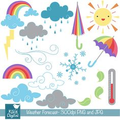 INSTANT DOWNLOAD Daily Weather Digital Clipart - Scrapbooking , card design, invitations, photo booth, web design