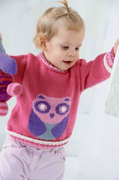 50ae63f2e06b1 Sweater with Owl in Schachenmayr Baby Wool - S8645 - Downloadable PDF.  Discover more patterns
