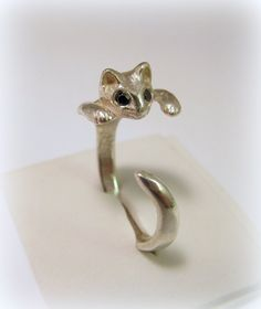 Silver cat ring with colour black eyes by Minicsiga on Etsy