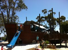 Heathcote Reserve - The Pirate Ship - cafe onsite Perth Western Australia, Family Day, Places To See, Pirates, Activities For Kids, To Go, Fair Grounds, River, Playgrounds
