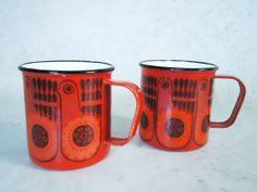 Pair of Finel Finland Enamel Red Bird Enamel by SwirlingOrange11, $105.00