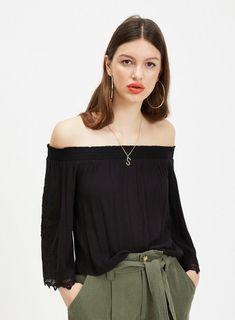 f78cfc8207dd3 Womens Black Cutwork Sleeve Bardot Top