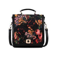 Floret Print Lock Bag ($70) ❤ liked on Polyvore featuring bags, handbags, accessories, romwe, bolsos, lock handbag, pattern purse, pattern bag, print bags and lock bag