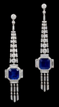 Sapphire and diamond earrings, set in platinum. 21st century