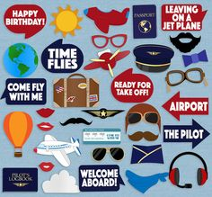Airplane and Pilot Photo Booth Prop Printables - 35 photo booth printables Just purchase the digital file to print and cut out at home. --------------------------------------------------------------------------------------------------- - - - LISTING INCLUDES - - - 1. 35 Photobooth