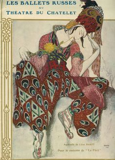 The Ballets Russes, under the direction of Sergei Diaghilev, performed in Paris from 1909 to 1929. Illustrations by Léon Bakst
