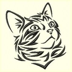 Tribal Cat Machine Embroidery Design | Embroidery Designs ...