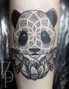 Cute dotwork panda by Zach Peacocks.