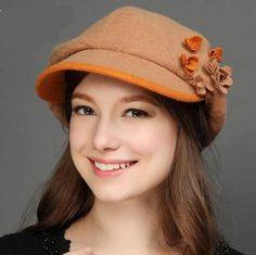 Handmade flower newsboy cap wool blend felt beret hats for women