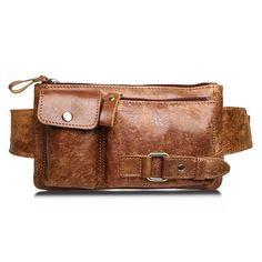 Mens Hi-Q Genuine Leather Brown Belt Bag Fanny Pack Waist Wallet Sling  Chest Bag 2f11843440f58