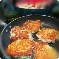 Simple left-over mashed potato patties with green onions, 1 egg and flour