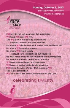 Breast Cancer awareness...race for the cure...celebrating tWEnty postcard