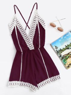 Shop Lace Trim Criss Cross Open Back Cami Romper online. SheIn offers Lace Trim Criss Cross Open Back Cami Romper & more to fit your fashionable needs. Teen Fashion Outfits, Outfits For Teens, Trendy Outfits, Girl Outfits, Cute Summer Outfits, Cute Outfits, Mode Rockabilly, Jugend Mode Outfits, Backless Jumpsuit
