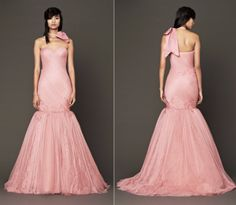 The Vera Wang's Fall 2014 bridal collection with a veritable rainbow of high-impact pink gowns. Ultimate femininity blush, rosebud, and coral dresses