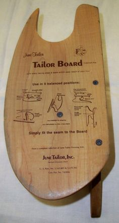 Tailor Board by June Tailor sld 19.99+12.75 2bds 1/12/16  Tailor Board made by June Tailor, Inc. in Wisconsin. I suspect that this predates the identical tailor boards made by Dritz. I think Dritz may have bought the company at some point.There are a few tiny dings (4) along the curved top edge of this item. Apart from them, this item is in like-new condition. There are no chips, cracks, missing splinters or repairs.