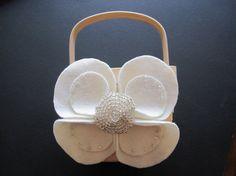 Flower Girl Basket Wedding Ivory by ArtisanFeltStudio on Etsy