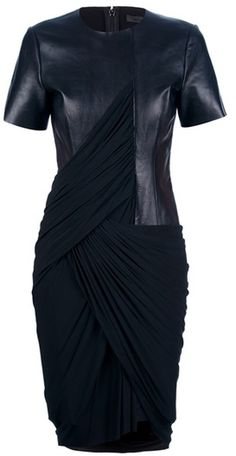 ALEXANDER WANG Leather Jersey Draped Dress - Lyst