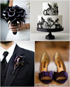 halloween wedding inspiration - gothic wedding decor - dark purple wedding - black wedding palette