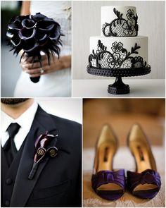 halloween wedding inspiration - gothic wedding decor - dark purple wedding - black wedding palette