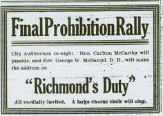 Prohibition rally ad.