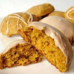 Iced pumpkin cookies - add these to your collection of favorite fall desserts. Made with canned pumpkin puree, a low calorie (one cup has. Iced Pumpkin Cookies, Pumpkin Cookie Recipe, Pumpkin Recipes, Fall Recipes, Sugar Pumpkin, Pumpkin Pumpkin, Cookie Desserts, Cookie Recipes, Dessert Recipes