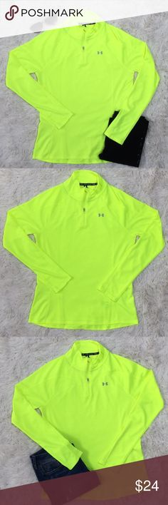 """Under Armour 1/4 Zip Pullover 💗 Neon Yellow Under Armour 1/4 zip pullover in neon yellow.  Features high zip neck, hidden zip pocket in back and Under Armour logo on front and back.  Semi fitted. Worn once.  No imperfections. Non smoking home. 100% Polyester Bust 18"""" Waist 17.5"""" Hip 20"""" Length 25"""" Under Armour Tops Tees - Long Sleeve"""