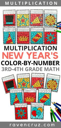 New Year's Math Multiplication Color-by-Number Worksheets 4th Grade Multiplication, 4th Grade Math Worksheets, Number Worksheets, Third Grade Math, Math Resources, Math Activities, Fourth Grade, Multiplication Worksheets, Multiplication Strategies
