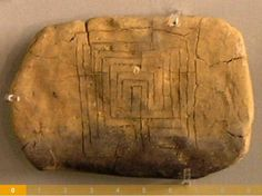 The earliest example of the labyrinth symbol for which a precise date can be determined is on a Linear B inscribed clay tablet from the Mycenaean palace at Pylos in southern Greece, which was accidentally preserved by the fire that destroyed the palace c.1200 BC.