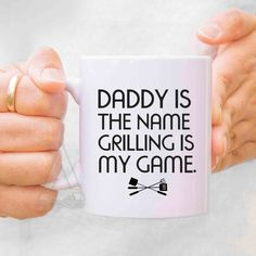 fathers day gift from kids daddy is the name grilling is my game coffee mug fathers day grilling gifts for dad from son barbeque mu166