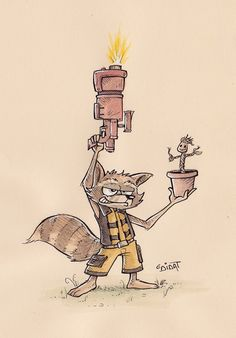 Fan-art Rocket Raccoon and Groot (from Marvel) - by DiDaT Studio