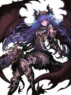 Anime demon girl with purple hair and light pink skin with demon wings, a sword and armor. Fantasy Anime, Dark Fantasy Art, Fantasy Girl, Anime Warrior, Anime Demon, Manga Anime, Demon Art, Manga Girl, Anime Art Girl