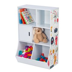 Storage Bin 6-Cube Kids Storage Cubby Light Blue 35.9 x 14.2 x 23.6 Inch Natural/White MDF Kids Storage Boxes, Storage Caddy, Cubbies, Shelves, Storing Books, Black And White Baby, Animal Decor, Large Furniture, Black Decor