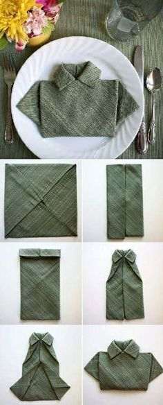 DIY Napkin Shaped Like A Little Polo Shirt