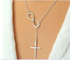 Cross Choker Infinity Pendant Necklace, Women/girls Jewelry, Lucky 8 Choker Collar Statement Cross Choker Infinity Pendant Necklace by beautifulcreated on Etsy Infinity Cross Necklaces, Infinity Pendant, Infinity Symbol, Metal Necklaces, Silver Chain Necklace, Pendant Necklace, Lariat Necklace, Nameplate Necklace, Drop Necklace