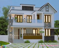 Trendy Kerala home design 2000 sq-ft Modern Small House Design, Modern Exterior House Designs, Latest House Designs, Simple House Design, House Front Design, Exterior Design, Duplex Design, Bungalow House Design, Duplex House