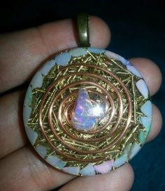 Opal Orgone Pendant-EMF & Psychic Protection, Intuition, Chakras,Beauty-Orgonite
