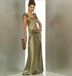 Bellville Sassoon Evening Dress Sewing Pattern UNCUT OOP Bust 30 to  34 Vogue 1015 Draped Hip Flounce Hem Fitted Formal Evening Gown