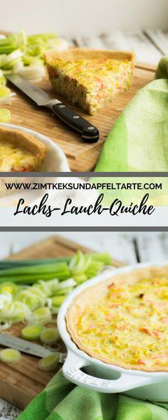 Lachs-Lauch-Quiche - ganz einfach zu backen nach meinem Rezept, super lecker, sehr saftig und schmackhaft. Passt zum Osterbrunch genauso wie als Mittagessen oder abends zum Wein #quiche #lachs #einfach #lecker