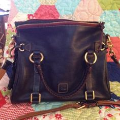 Marine Dooney & Bourke florentine leather satchel Like new, has long strap included! Is a dark blue color called Marine. This is the small 13 inch size satchel. So pretty! Dooney & Bourke Bags Satchels