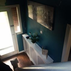 Home teal hallway radiator cover Radiator Cover, First Home, Radiators, Home Projects, Living Room Designs, Terrace, Lounge, Home Appliances, Teal