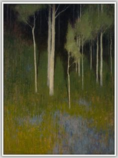 """""""Blue Carpet"""" by David Grossmann/ (Oil, Scattered beneath the aspens is a carpet of blue flowers, spread thickly in the dense green of summer.)/ This painting will be available at the 2014 Coors Western Art Exhibit and Sale. Abstract Landscape Painting, Landscape Art, Landscape Paintings, Nocturne, Contemporary Landscape, Tree Art, Oeuvre D'art, Traditional Art, Painting & Drawing"""
