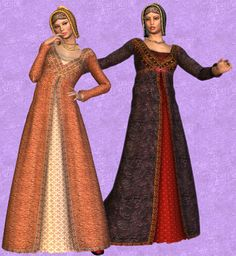 Italian Renaissance Women long dress with opening in the front and v necks with little hats