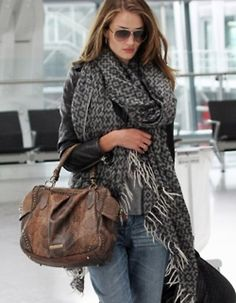 enormous whisp finged scarf, double handled leather bag with character