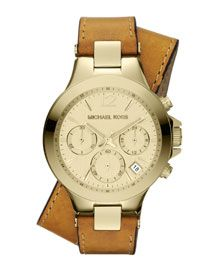 Michael Kors Michael Kors Mid-Size Luggage Leather and Golden Stainless Steel Peyton Chronograph Watch