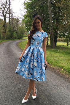midi dress, blue, white, occasion wear, wedding guest, races, floral print, cap sleeve, high neck